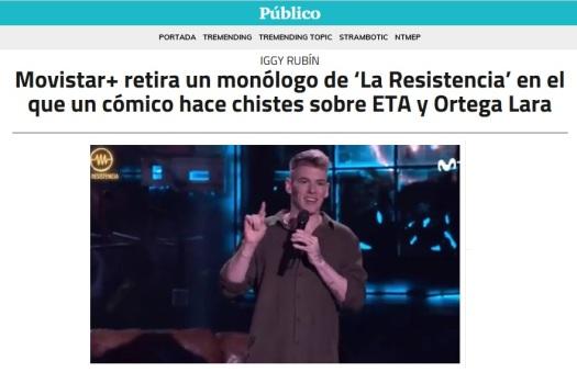 Movistar retira un monólogo de Iggy Rubín (Público)