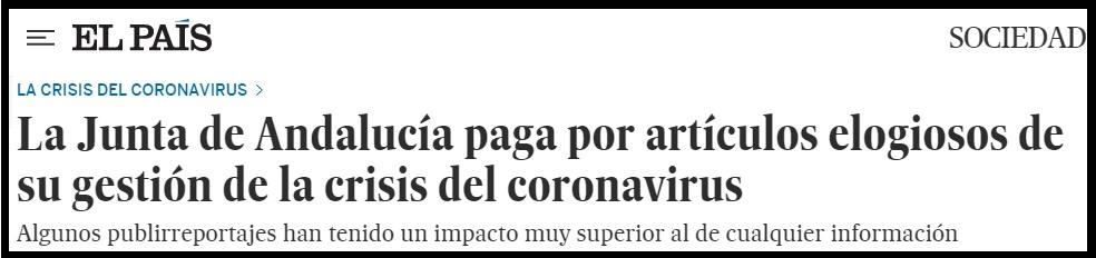La junta de Andalucía paga por arículos elogiosos sobre su gestión de la crisis